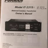Furman Power Conditionning Transformer IT-2315U Manuel b